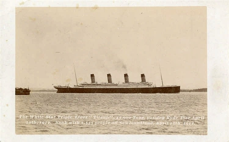 R.M.S. TITANIC: Rare W.R. Hogg real photo postcard showing Titani