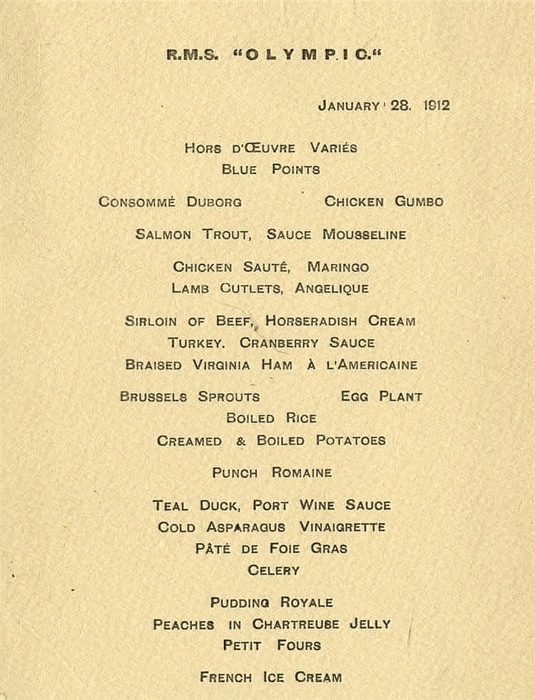 R.M.S. OLYMPIC: Rare First Class à la carte restaurant menu Janua