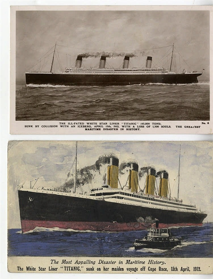 R.M.S. TITANIC: Rare, coloured, artist's impression of Titanic on