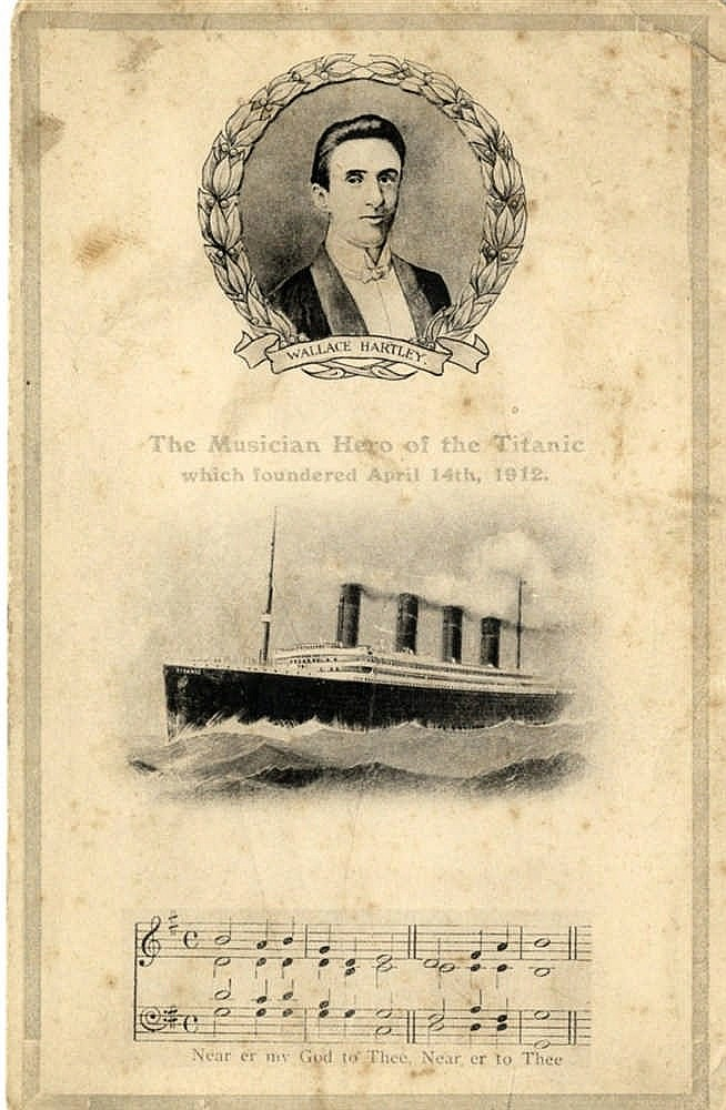 R.M.S. TITANIC: Rare postcard featuring Wallace Hartley (1879-191
