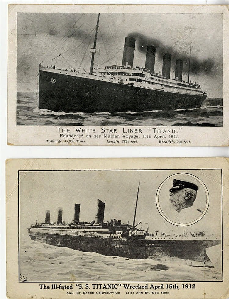R.M.S. TITANIC: Post-disaster postcard showing Titanic at sea, a