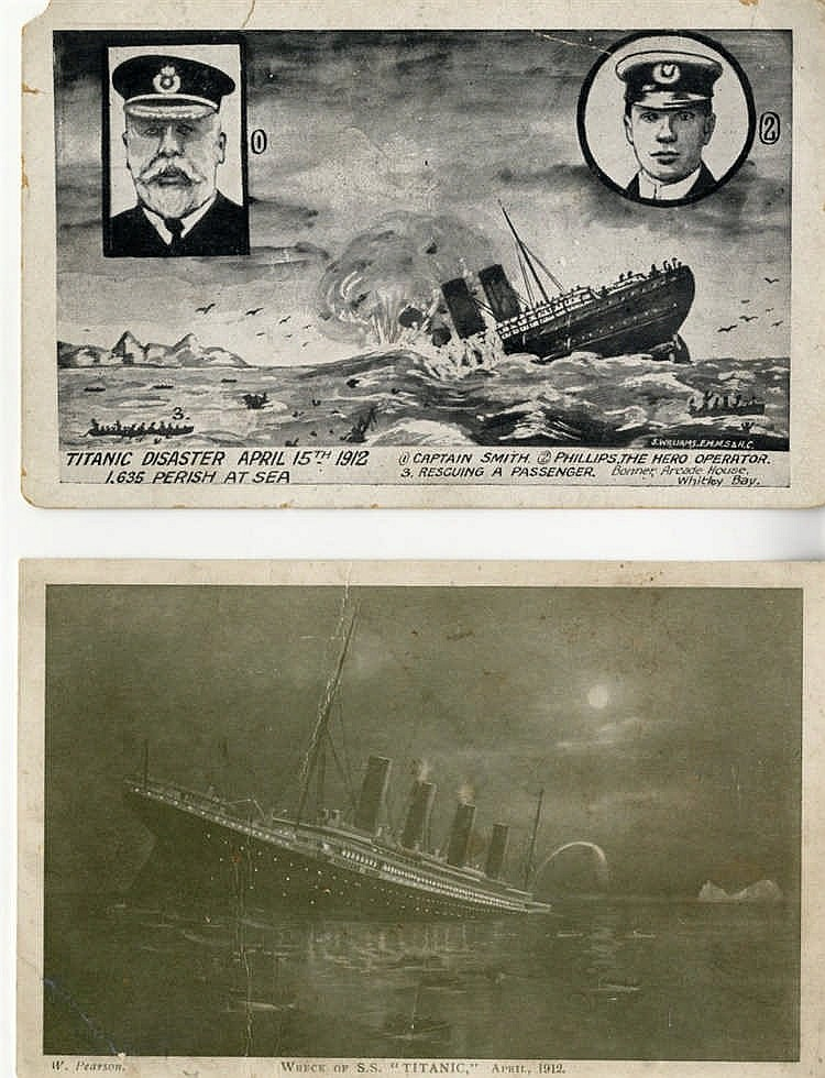 R.M.S. TITANIC: Period artists postcards 'Wreck of S.S Titanic',