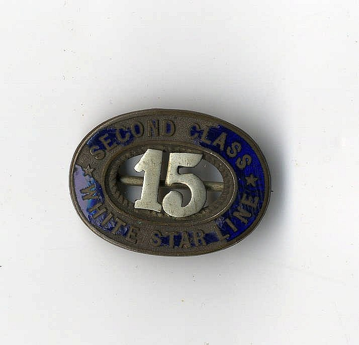 WHITE STAR LINE: Unusual oval Second Class Steward's badge, blue