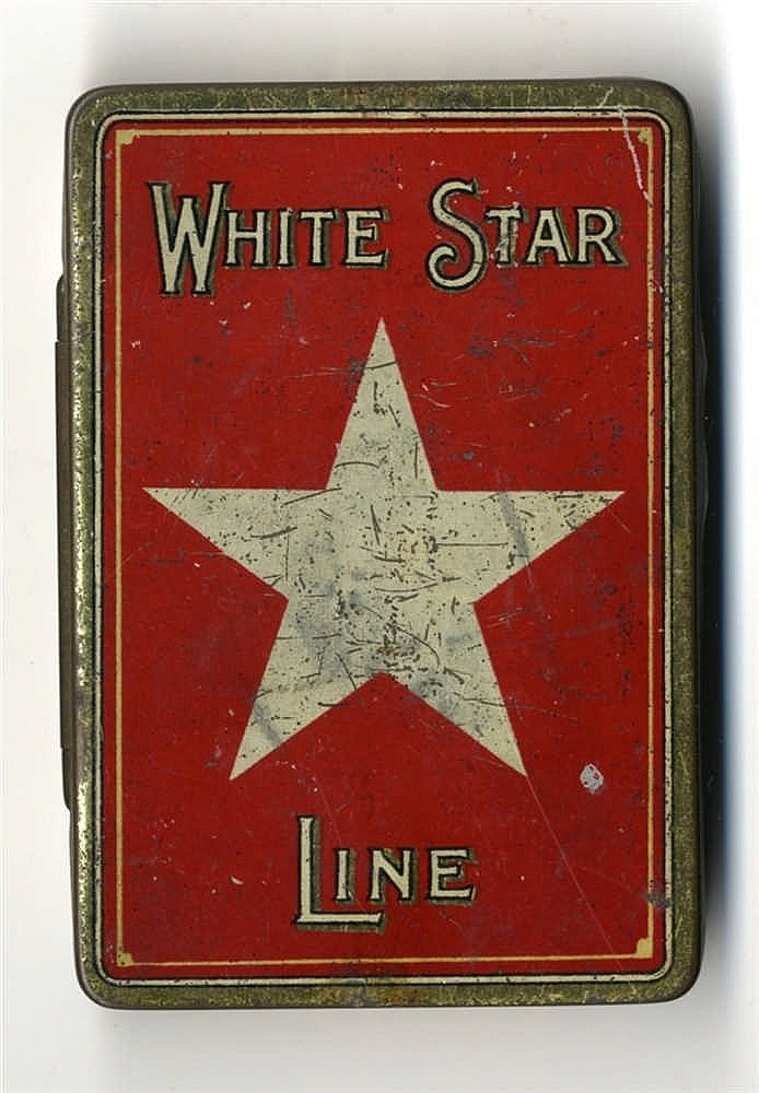 WHITE STAR LINE: W. Ariel Gray cigarette tin with bold red ground