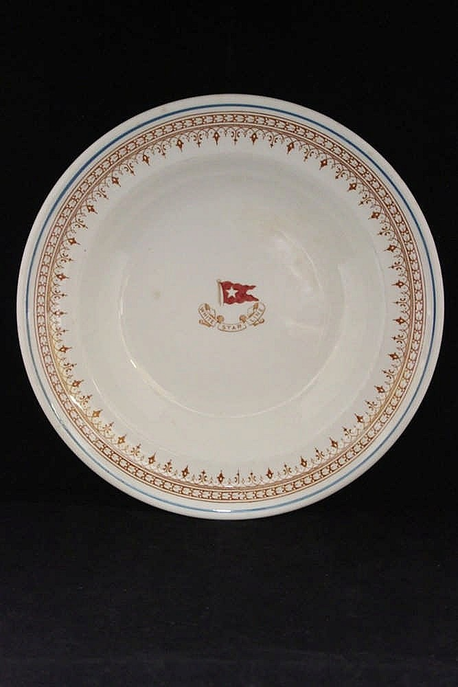 WHITE STAR LINE: First Class Losol ware soup bowl. 9½ins.
