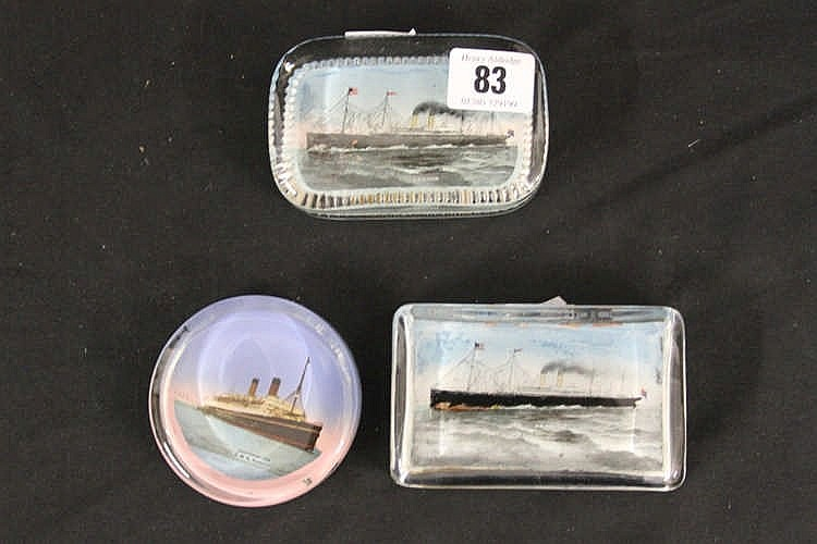 WHITE STAR LINE: Glass paperweights for the R.M.S. Celtic, R.M.S.