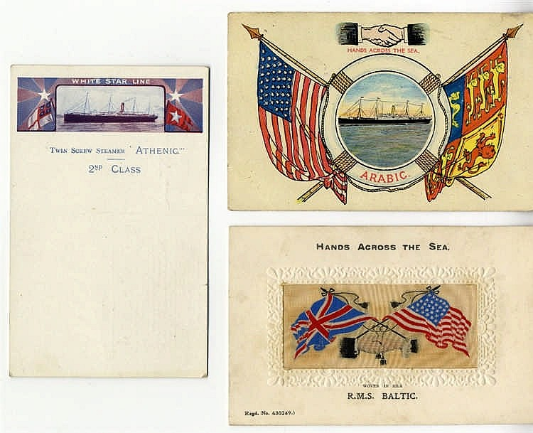 OCEAN LINER: Period White Star Line postcards collection includin
