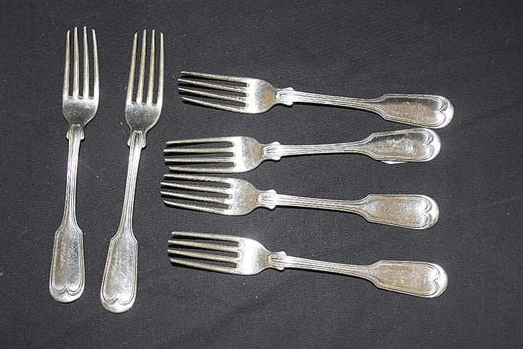 WHITE STAR LINE: Set of six silver plated forks inscribed Baltic