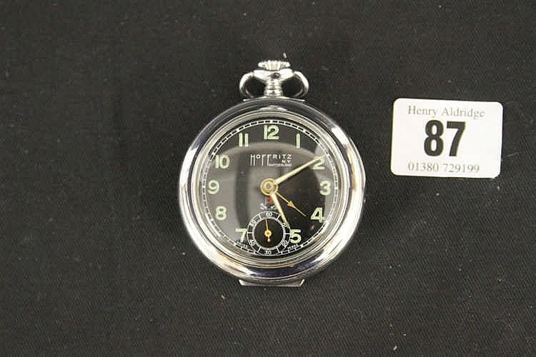 WHITE STAR LINE: Unusual Hoffritz white metal pocket watch, black