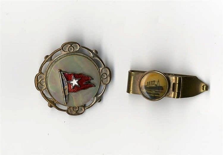 WHITE STAR LINE: Unusual white metal and mother of pearl brooch w