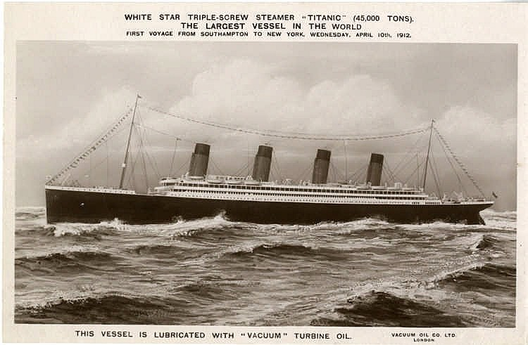 R.M.S. TITANIC: Extremely rare pre-sinking book postcard of Titan