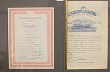 OCEAN LINER: Collection of agent's authority certificates for Ame