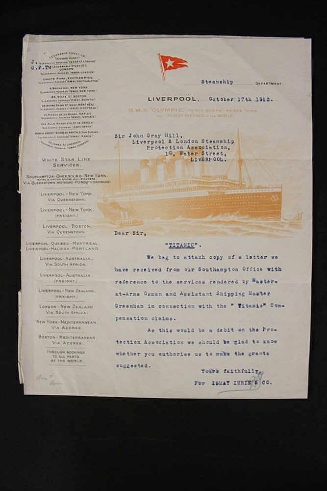 **R.M.S. TITANIC: Rare letter in relation to Titanic compensation