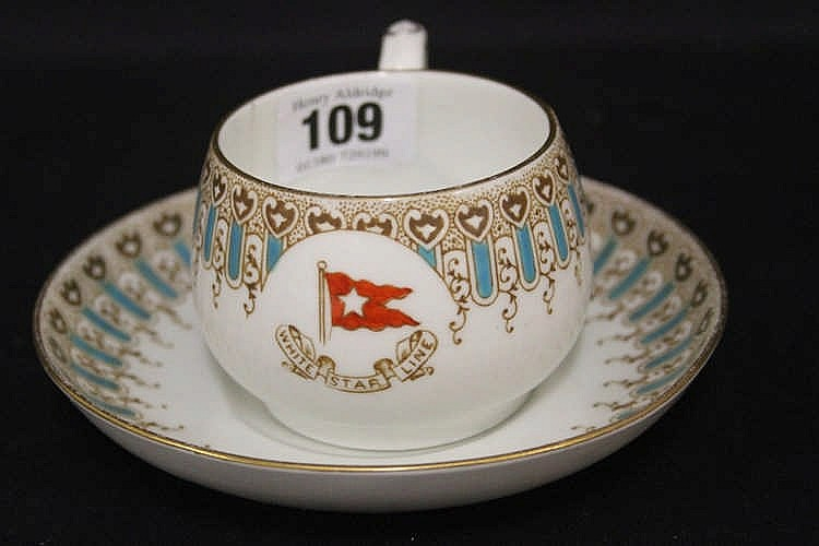 WHITE STAR LINE: First Class wisteria cup and saucer, with hairli