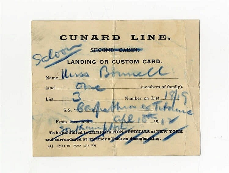**R.M.S. TITANIC - EXTREMELY RARE CUSTOMS LANDING CARD ISSUED TO