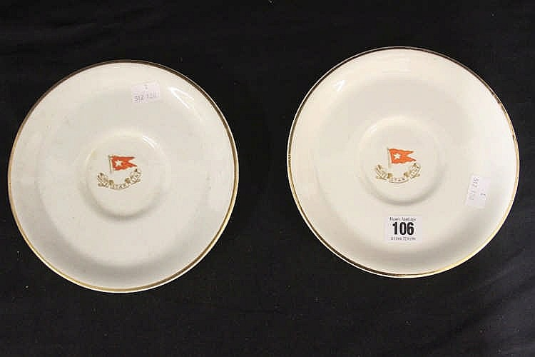 WHITE STAR LINE: Bouillon plates with White Star house flag to th
