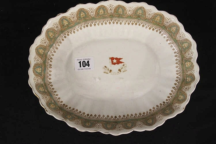 WHITE STAR LINE: Gothic arch tureen with central red enamel house