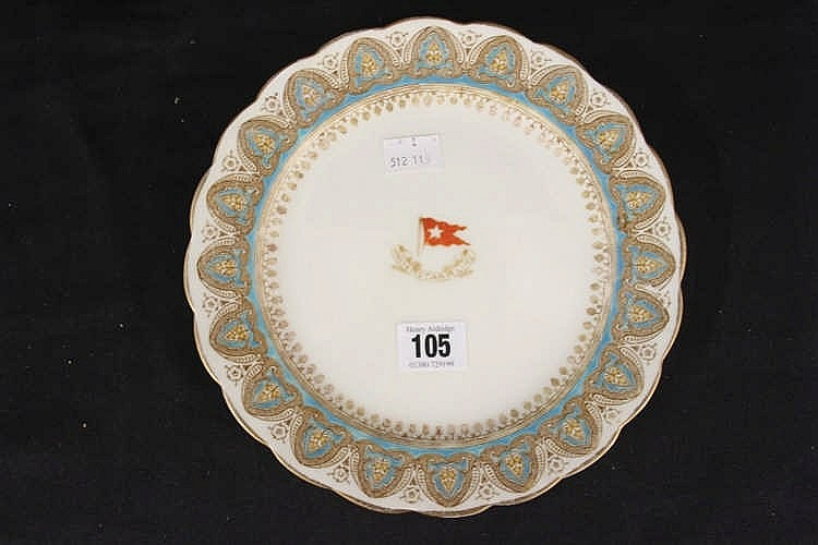 WHITE STAR LINE: First Class Gothic arch Stonier & Co dinner plat