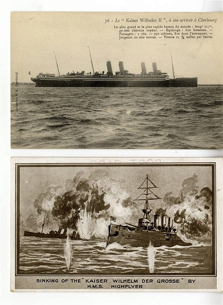 OCEAN LINER: Postcards featuring early German liners including Kr