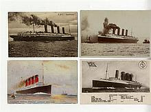 OCEAN LINER: Period postcards including four Lusitania and four M