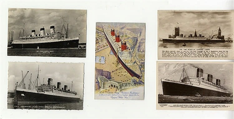 OCEAN LINER: Queen Mary real photo and other postcards, including