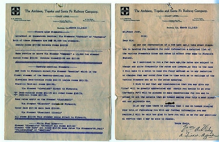 **R.M.S. TITANIC: Rare railway ticket agent's letter which forwar