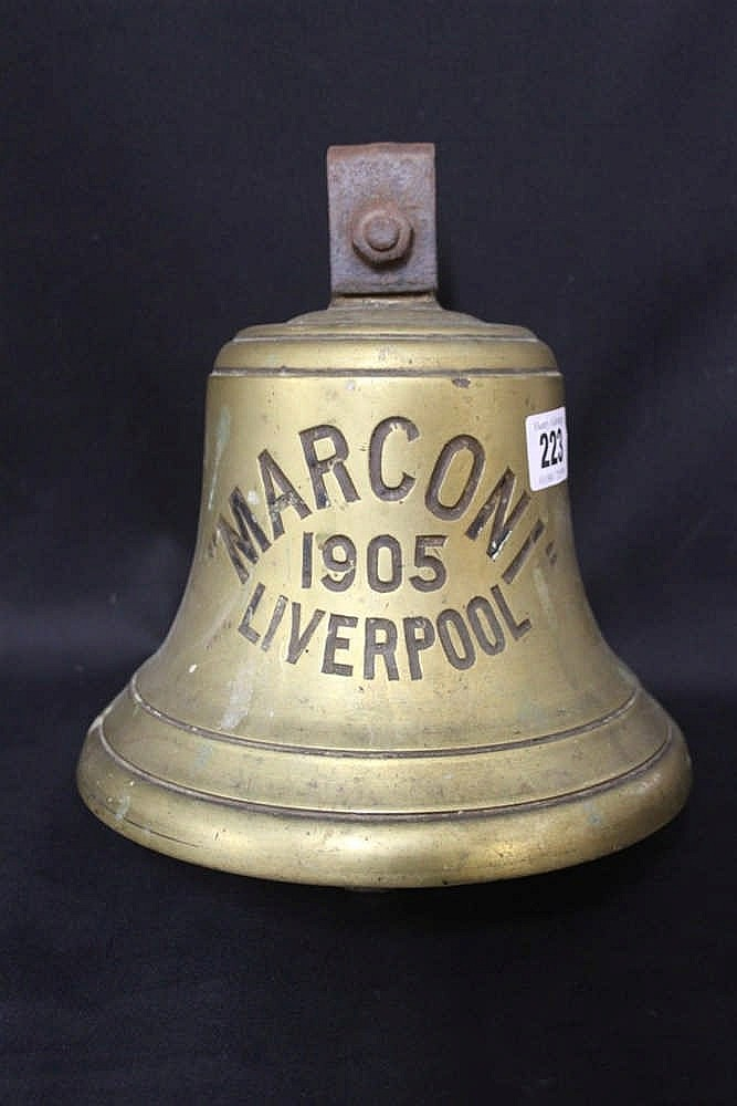 R.M.S. TITANIC: Extremely rare bronze bell impressed MARCONI 1905