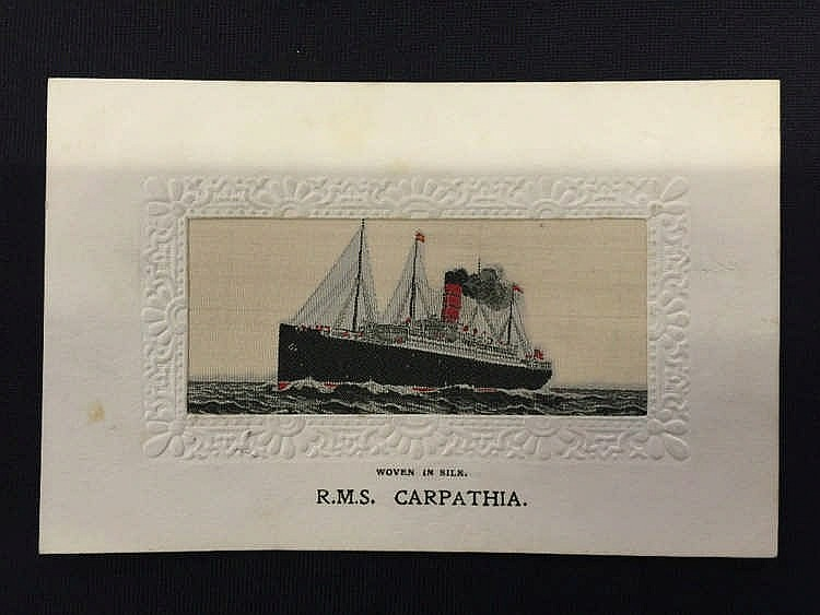 R.M.S. CARPATHIA: Unusual woven in silk postcard of Carpathia at