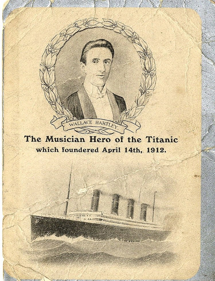 R.M.S. TITANIC: 'In Memoriam' card in remembrance of Wallace Hart