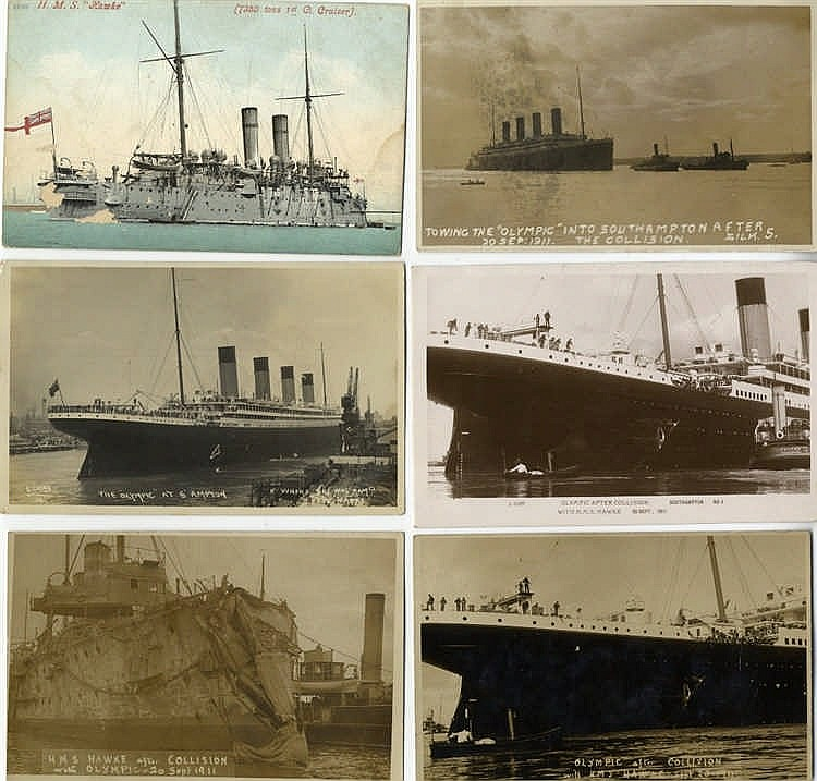 R.M.S. OLYMPIC: Good collection of mostly real photo postcards re