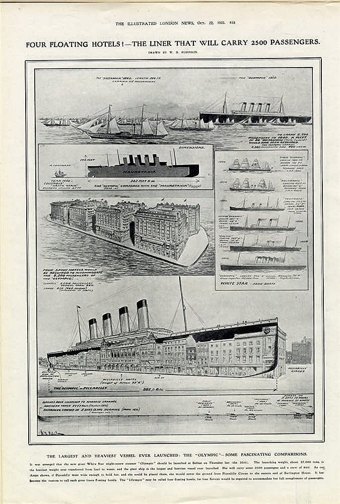 R.M.S. OLYMPIC: Illustrated London News October 22nd 1910. Single
