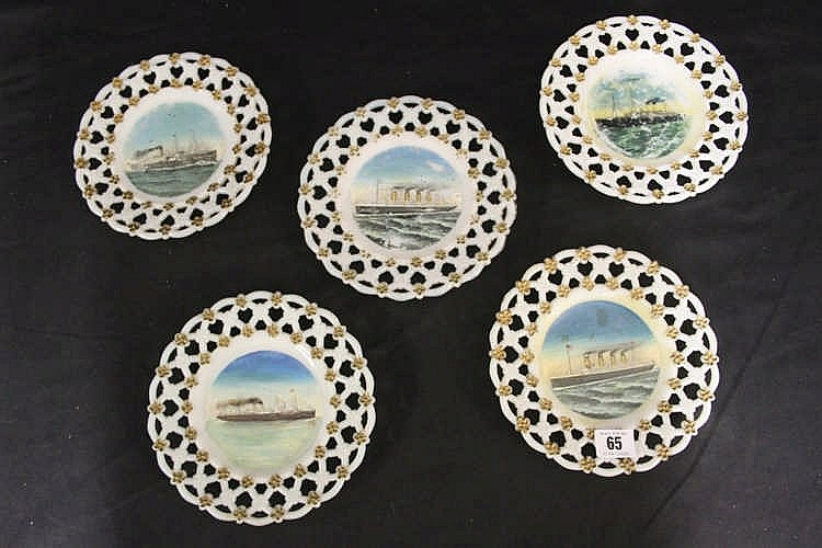 WHITE STAR LINE: Souvenir glass ribbon plates for the Arabic, Ced