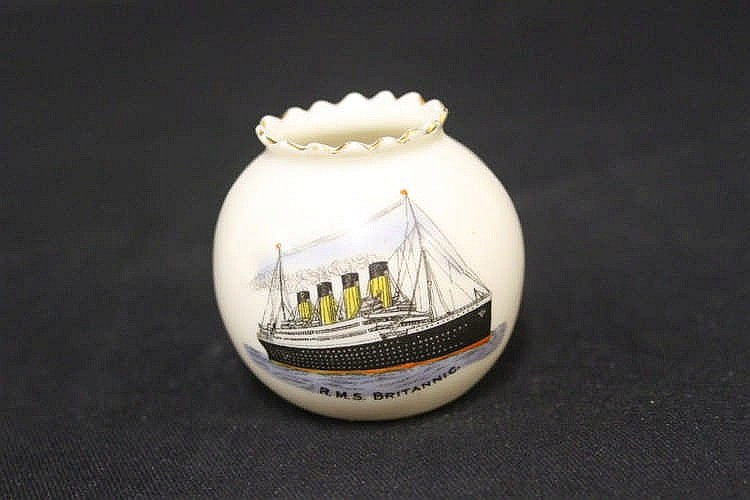 R.M.S. BRITANNIC: Extremely rare Windsor china, crested pre-W.W.I