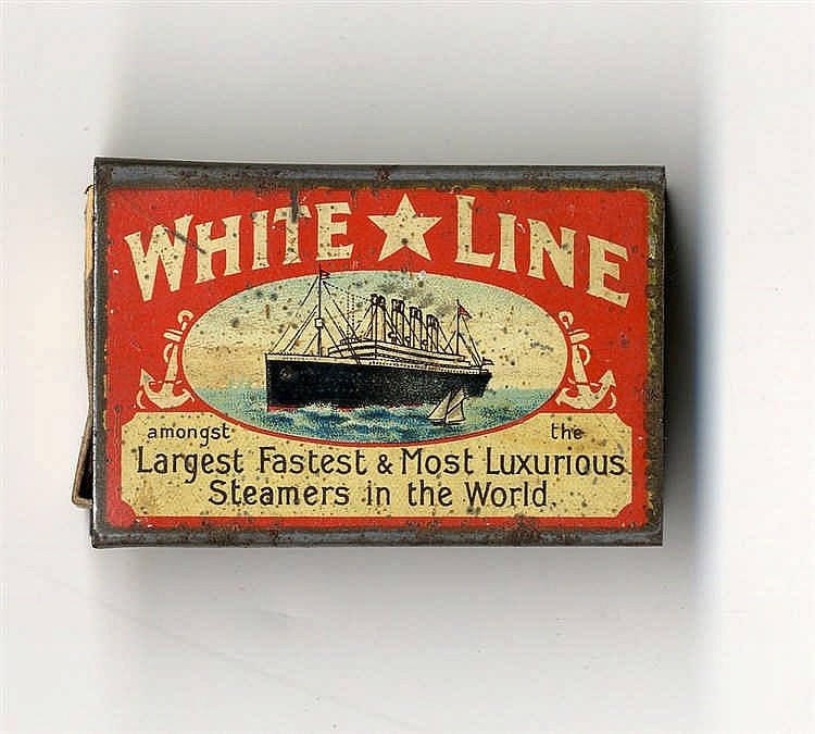 WHITE STAR LINE: Rare tin match holder box showing the Olympic Am