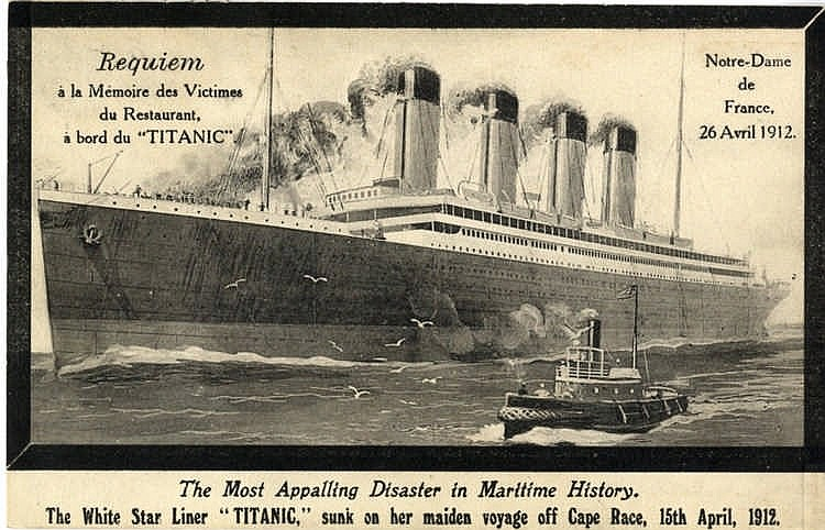 R.M.S. TITANIC: Unusual post-disaster card adopted in French for