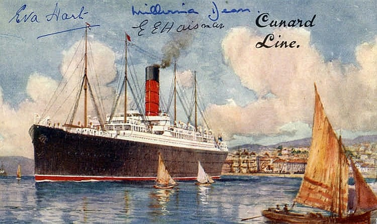 R.M.S. CARPATHIA: Colour postcard signed by Titanic survivors Eva