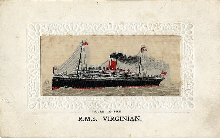 R.M.S. VIRGINIAN: Silk postcard, minor foxing.