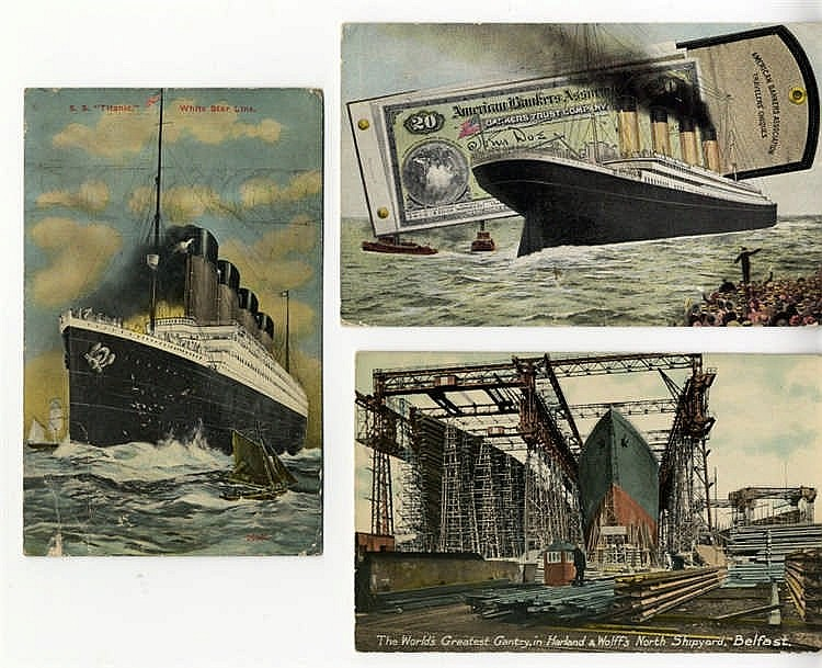 R.M.S. TITANIC: Real photo colour unused postcard of Titanic and