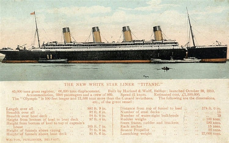 R.M.S. TITANIC: Rare unused pre-sinking coloured postcard of Tita