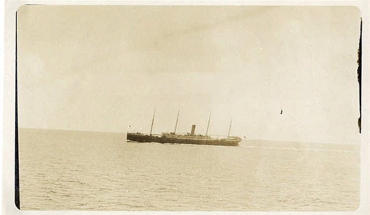 R.M.S. TITANIC - HUTCHINSON ARCHIVE: Period photograph of the S.S
