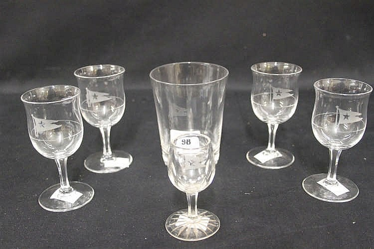 WHITE STAR LINE: Collection of glassware including a set of four