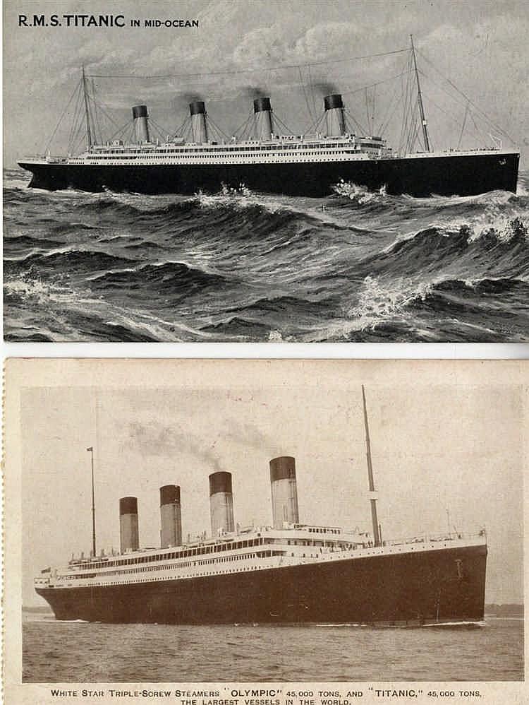 R.M.S. TITANIC: Pre-sinking postcard of 'R.M.S. Titanic in mid-oc