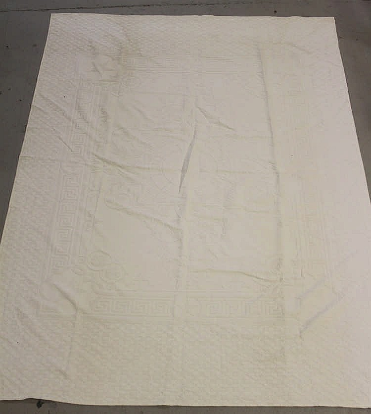 WHITE STAR LINE: Large Damask sizeable table cloth with a geometr