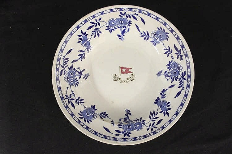 WHITE STAR LINE: Second Class Delft pattern soup bowl, Stonier