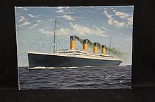 R.M.S. TITANIC: Keith Campbell oil on board of Titanic at sea, si