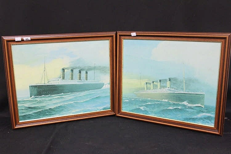 OCEAN LINER: Pair of canvas modern prints of Titanic and Lusitani