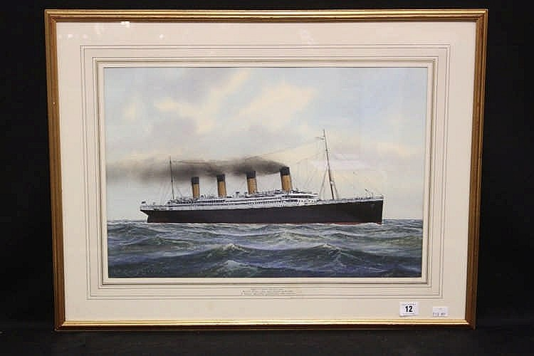 R.M.S. TITANIC: Contemporary watercolour of Titanic at sea, signe