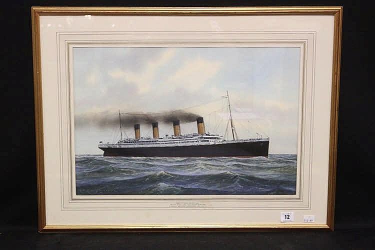 R.M.S. TITANIC: Contemporary watercolour of Titanic at sea, signe