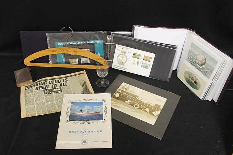 LINER: Box of memorabilia includes Union Castle Line - Edinburgh