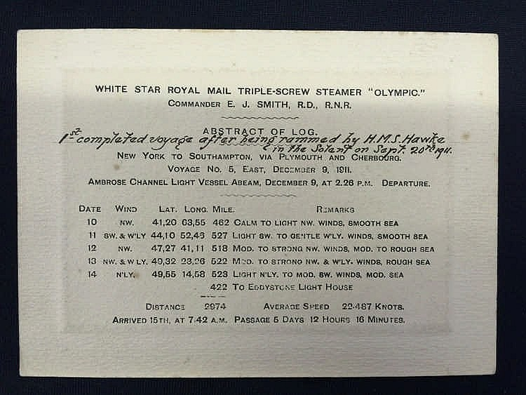 R.M.S. OLYMPIC: Rare early abstract of log with Edward J. Smith a